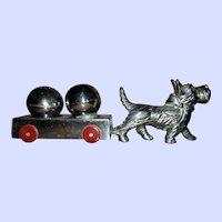 Charming Vintage White Metal Scottie Dog Cart S&P Set
