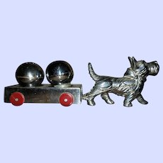 Charming Vintage White Metal Scottie Dog Cart S&P Set