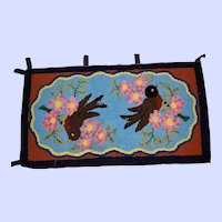 Vintage Hand Made Bright Cheerful Robin Floral Themed Mat Rug