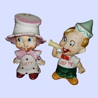 Comical Ceramic Figural Salt Pepper Spice Shakers  Salty Peppy Japan