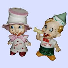 Comical Ceramic Figural Salt Pepper Spice Shakers  Salty Peppy Japan