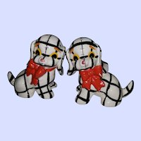 Sweet Ceramic Patch Work Puppy Dog Salt Pepper Shakers NAPCO