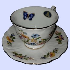 Pretty Vintage Aynsley Teacup Saucer Set  Floral Butterfly Theme