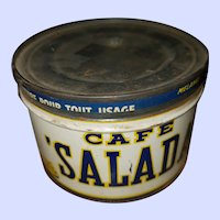 Vintage Collectible Tin Litho Advertising Salad Coffee Can Half Pound Net sz
