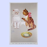 Collectible Vintage Signed Lawson Wood Kitty Cat Postcard