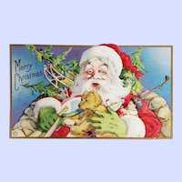 Vintage Collectible Santa Teddy Bear  Merry Christmas Postcard