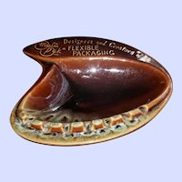 Brown  Pottery Space Age Atomic Era  Ashtray Mid-Century Advertising Beauce Canada