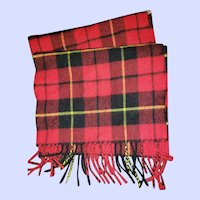 Vintage Fringed Red Tartan Scarf Ingles Buchan 100% Lambswool Scotland