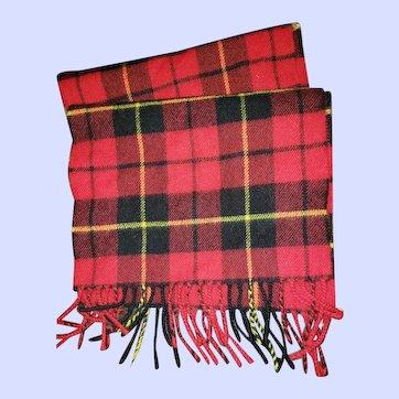 Vintage Fringed Red Tartan Scarf Ingles Buchan 100% Lambswool Scotland