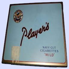 VTG Collectible Tin Litho Advertising Case Player's Navy Cut Mild Cigarettes (empty)