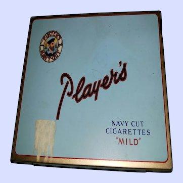 VTG Collectible Tin Litho Advertising Case Player's Navy Cut Mild Cigarettes (empty)