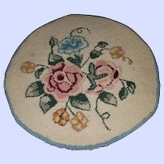 Hand Hooked  Crafted Floral Table Chair Mat