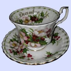 Royal Albert Flower of the  Month Series Christmas Rose Teacup Saucer Set