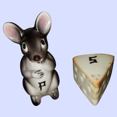 Little Mouse with Cheese S&P Shakers MI Japan