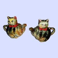 Vintage Tabby Kitty Cat Teapot Salt Pepper Spice Shaker Set