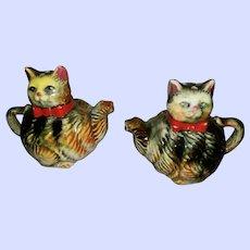 Vintage Tabby Kitty Cat Teapot Salt Pepper Spice Shaker Set