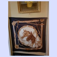Gently Used Designer Signed Jean De Bahrein Equestrian Horse Themed Scarf