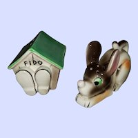 Charming Vintage Fido Puppy Dog House Salt Pepper Shakers Japan