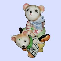 Cute Stacking Teddy Bear Figural Salt Pepper Spice Shakers Japan