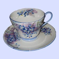 Fine Bone China Shelley Blue Spray Tea Cup Saucer England