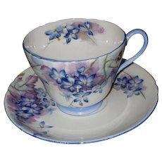Fine Bone China Shelley Blue Spray Tea Cup Saucer England