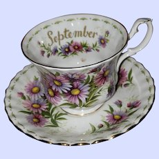 Flowers of the Month Series Michaelmas Daisy September Royal Albert Teacup Saucer