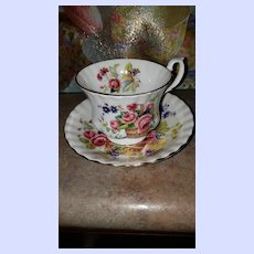 Pretty Vintage Royal Albert Basket if Flowers Teacup Saucer Set