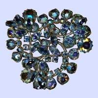 Vintage Designer Signed Sherman Blue Aurora Borealis Rhinestone Brooch Pin