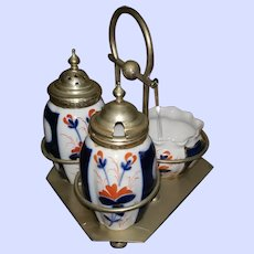 Vintage Imari Style Condiment Set with Stand