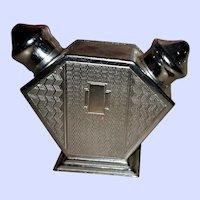 Deco Era Pat Pend RD NO 860510 White Metal Salt Pepper Shakers all in 1