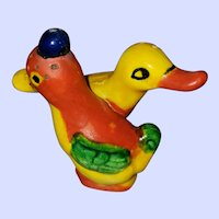 Sweet Ceramic Hand Painted Duck All in One Salt Pepper Shakers