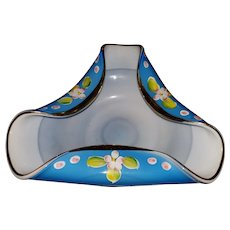 Vintage Blue Milk Glass Hand Blown Decorated Bowl Arnart Japan