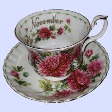Royal Albert Flower of the Month Series November Chrysanthemum Teacup Saucer