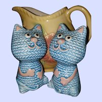 Blue Ceramic Kitty Cat Salt Pepper Shakers Yarn Themed