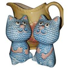 Blue Ceramic Kitty Cat Salt Pepper Shakers Yarn Themed