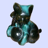 Blue Mountain Pottery Cat Ball of Wool Yarn Black Teal Ceramic 7 Inches Canada