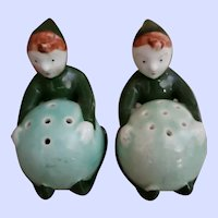 Vintage Mid-century Ceramic Painted Pixie Elf Salt Pepper Shakers