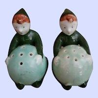 Vintage Mid-century Ceramic Painted Pixie Elf Salt Pepper Shakers