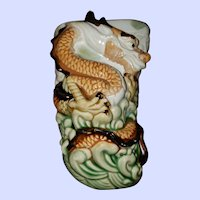 Asian Pottery Wall Pocket Dragon Themed