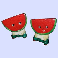 Small Watermelon Slice PY Japan Antropomorphic Salt Pepper Spice Shakers
