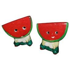 Small Watermelon Slice PY Japan Antropomorphic Salt Pepper Spice Shakers