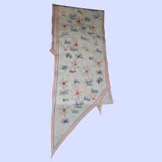 Pretty Designer Signed Vera Wing Tip Scarf Floral