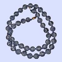 Vintage Asian Symbolic  Hand Knotted Glass Bead Necklace Necklace