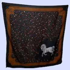 Vintage Unicorn Scarf Made in Italy Polyester