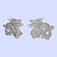 Pair Blanc de Chine Dragin Figurunes Japan