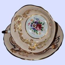 Vintage Double Paragon Floral Themed Tea Cup Saucer Set Gold Decoration