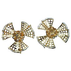 Large Brushed Gold Faux Pearl Rhinestone Atomic Era Clip Earrings