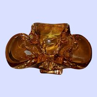 Blown Amber Mid-Century Canadian Bowl by Lorraine