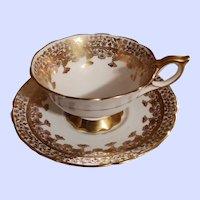 Vintage Tea Cup Saucer Gold Regent Royal Stafford England