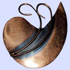 Mid-Century Copper Brooch Pin